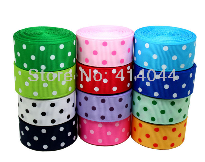 7/8inch 22MM Polka Dots Printed Grosgrain Ribbon Lots 12 Colors Mixed Baby Hair Bows Making - PPCrafts Kid's Accessories store