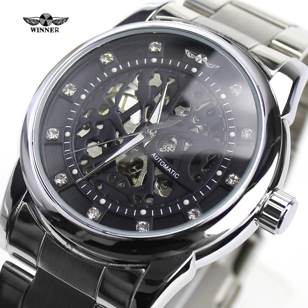winner royal diamond design silver black montre homme mens watches top brand luxury relogio. Black Bedroom Furniture Sets. Home Design Ideas