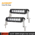 Auxmart 2x CREE Chips 8inch 30W LED Light Bar 5D Offroad Work Light Spot Beam Driving