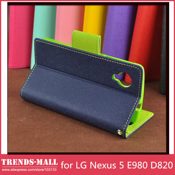 GOOSPERY Contrast Color Wallet Credit Card Stand Leather Case LG Nexus 5 E980 D820- Retail Package- - Trends-Mall store