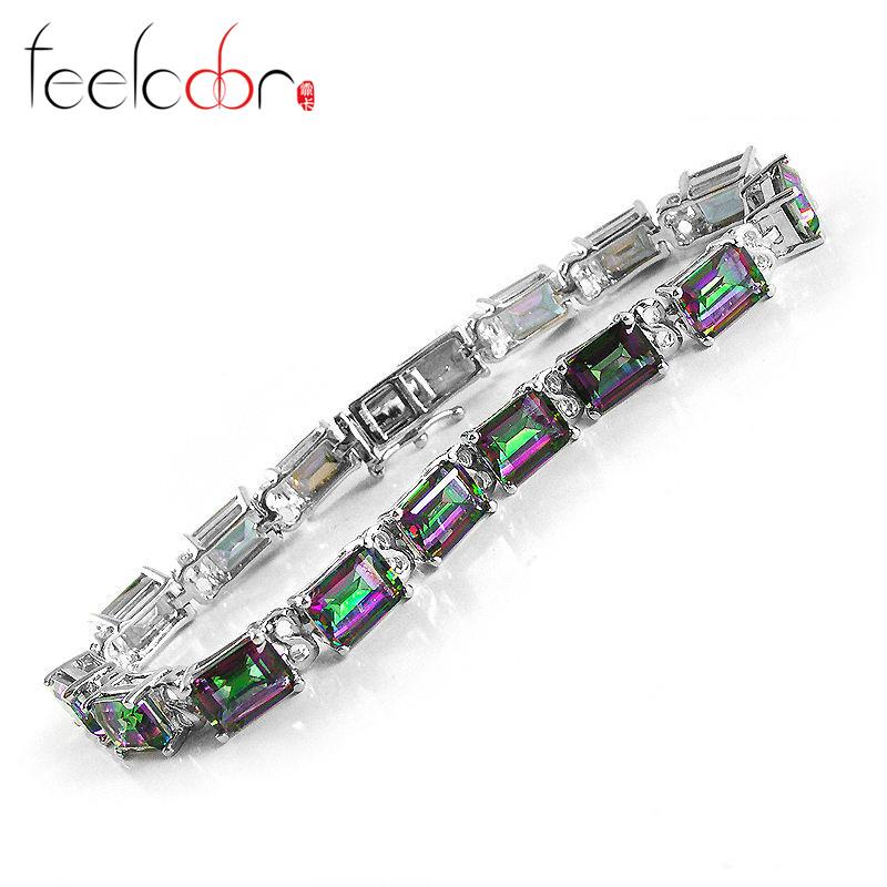 Classic 27.36ct Genuine Rainbow Fire Mystic Topaz Emerald Cut Solid 925 Sterling Silver Tennis Bracelet Hot Sale Charm Gift