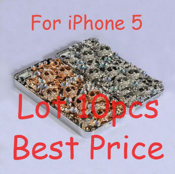 Gold, Silver Lot 10pcs 3D Diamond Fashion Cases, Luxury SKULL bling design reinestone for iphone 5 Case, Free Shipping