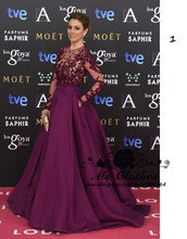 Long Sheer manches vin rouge longueur De plancher tribunal Train robes Celebrity Red Carpet robes 2015 robe De Festa(China (Mainland))