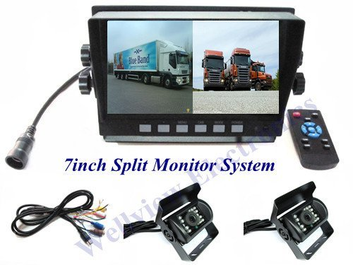Reverse Camera System for Truck/Bus,with 7inch Split Monitor and 2 CCD cameras