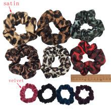 10 pcs/lot Soft chiffon Velvet satin Hair Scrunchie floral Grip Loop Holder Stretchy Hair band hair ties accessories leopard(China)
