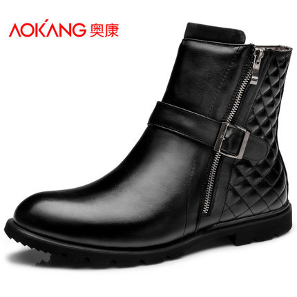 Aokang Winter mens Shoes Top Grain Cowskin Mens Boots<br>