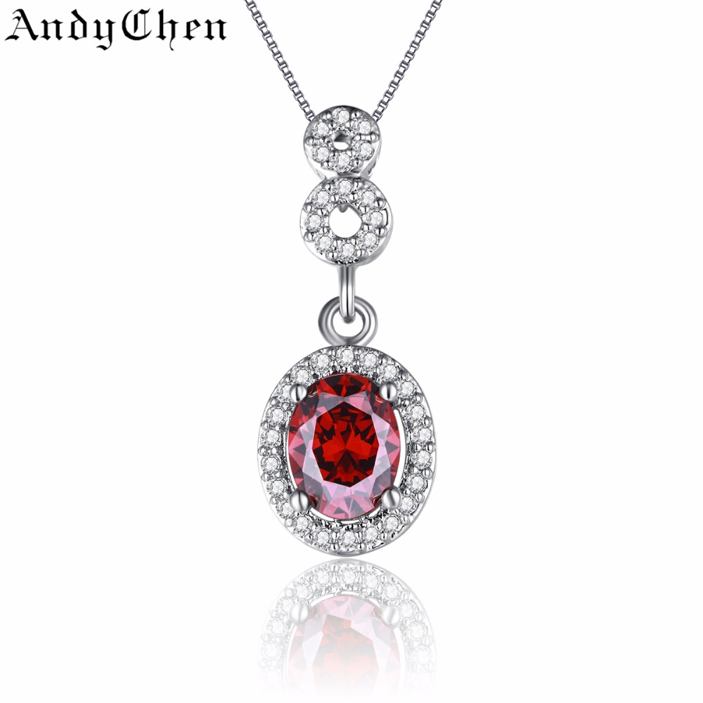 Oval Ruby Jewelry 925 Silver Filled Vintage Necklaces & Pendants for Women Crystal Bijoux Femme Accessories ASN011(China (Mainland))