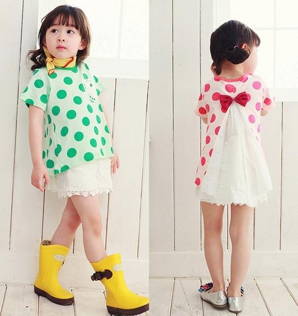 Девочка дети в красный / зеленый Dot шифон дутый футболки, Дети девочка / дети в одежда