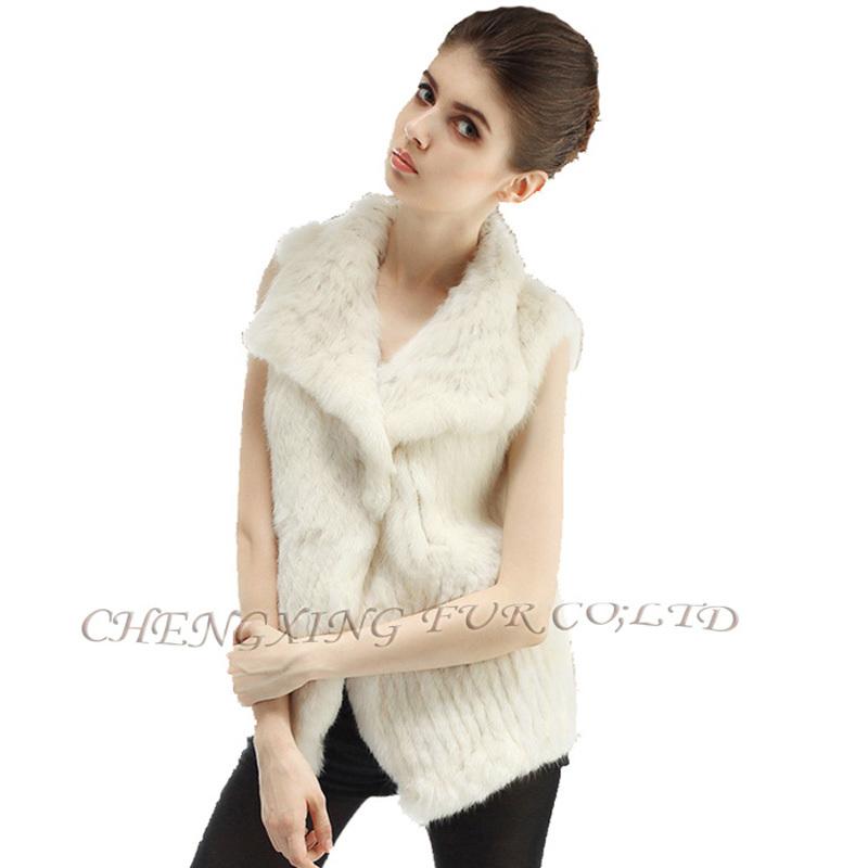 CX-G-B-38C Hot Sale Brand Rabbit Fur Gilets Knitted Handmade Vest Waistcoat Rabbit Fur Vest