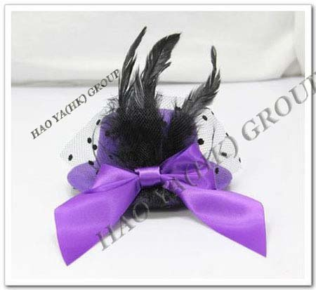 free shipping delicated feather fascinator party hat with fabric bowtie,christmas party hat with clips.many colors 6pcs/lot
