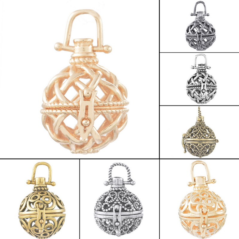 Copper Pendant Round Shape Openable Hollow Out Mental Box Pendant Restro Fine Jewelry Neckalce Findings 4*1PC(China (Mainland))
