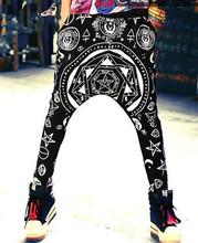 Women Fashion Casual Print Loose Baggy Harem Pants Skinny Leg Punk Hip Hop Pants Elastic Waist Street Dance Trousers Sweatpants(China (Mainland))