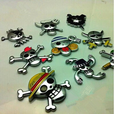 2015 Car Sticker 3D ONE PIECE Chrome Badge Emblem Car Sticker metal Decal,free shipping(China (Mainland))