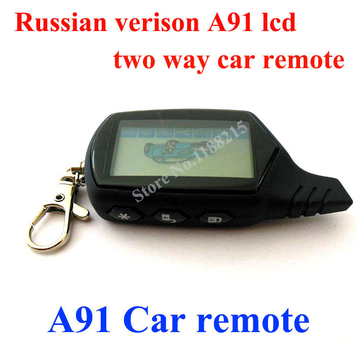 Russian version A91 LCD Remote for A91 car remote controller lcd two way car alarm system free shipping(China (Mainland))