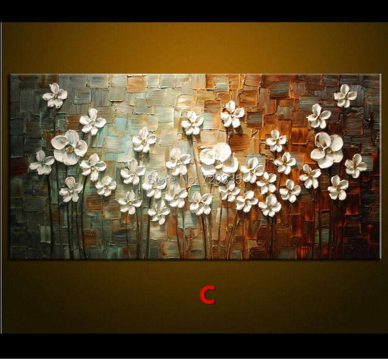 Koop de hand geschilderd paletmes olieverf dikke verf witte bloemen schilderen - Corridor schilderen ...