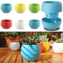 Colourful Round Plastic Plant Flower Pot Home Office Garden Decor Planter 7CM(China (Mainland))