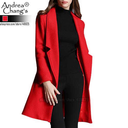 2016 осень зима дизайнер женщин пиджаки красный шерстяное пальто длиной до колен v-образным вырезом костюм воротник мода свободного покроя работа бренд куртки пальто