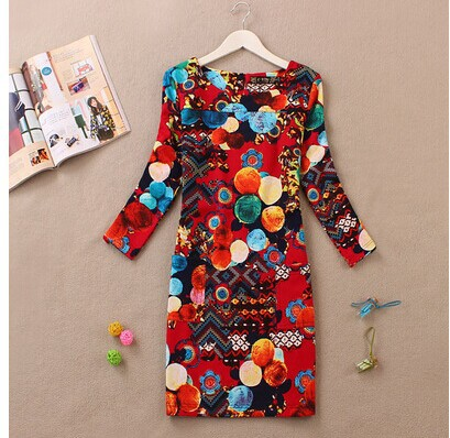 2014 autumn and winter new European and American national wind retro print dress spring dress big yards temperament LGRJ(China (Mainland))