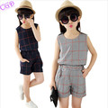 Baby Girls Clothes 2016 Summer Children Clothing Sets Fashion Girl Suits Sleeveless Plaid Vest Tops Pants