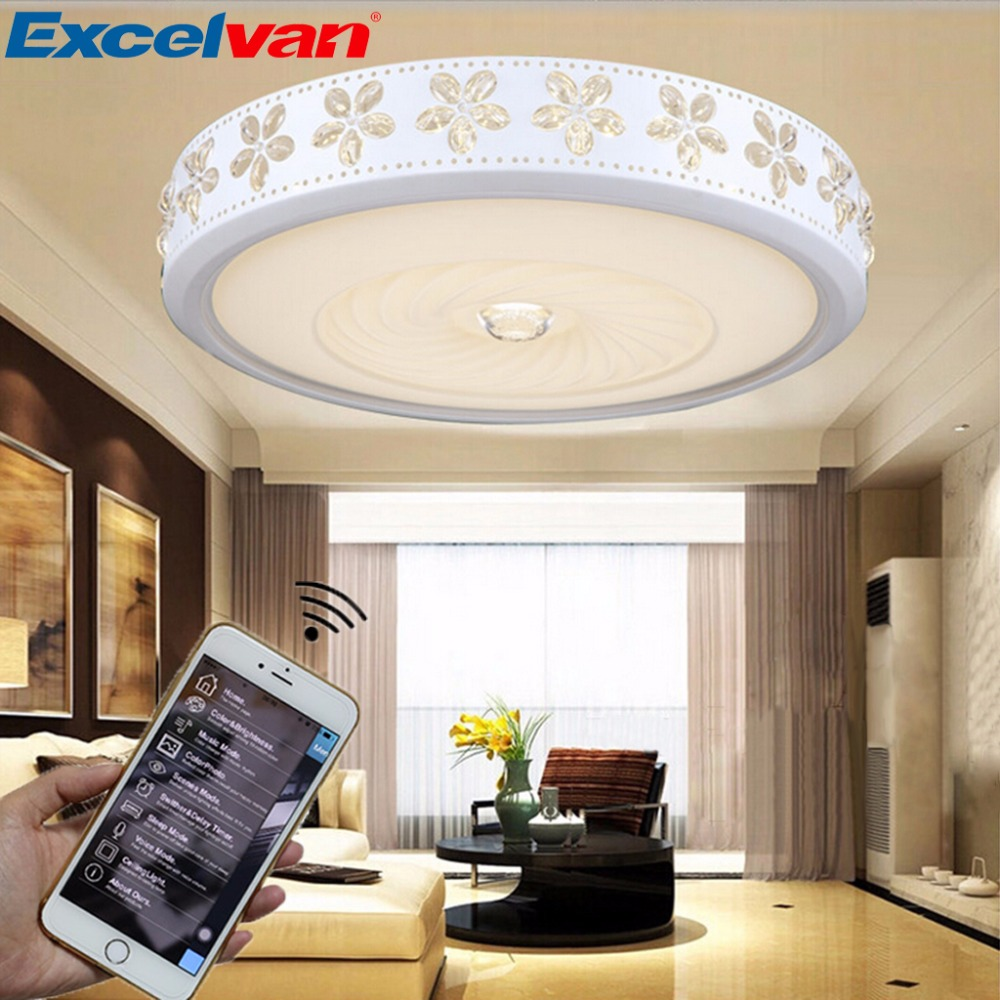 Excelvan Wifi Ceiling Light Wifi Music Infinite Dimming 38W 42W 85-265v LED Ceiling Light Round Square Ceiling Mount Lamp(China (Mainland))