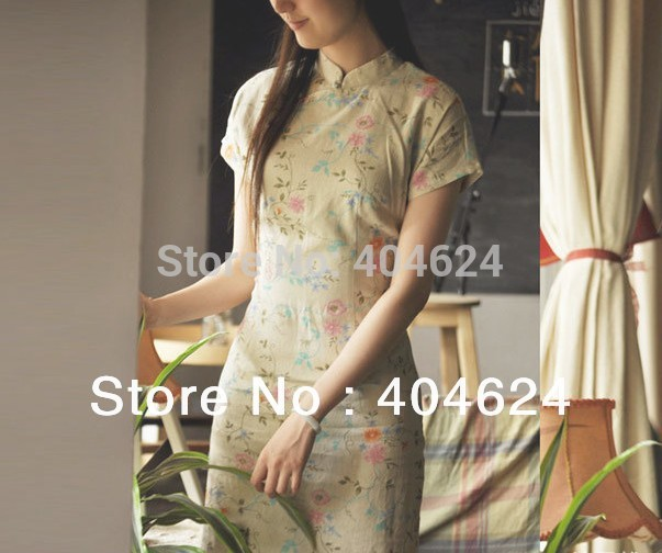 Wholesale Classic Chinese Women Cheongsams Qipao Sexy Floral Print Dress Cotton and Linen Handmade Genuine,8 Styles With 5 SizesОдежда и ак�е��уары<br><br><br>Aliexpress