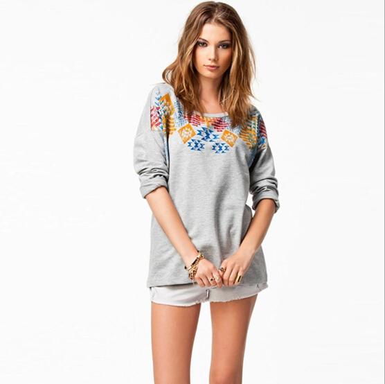 女性のレディースカジュアルホットな新2015blusasoネック綿の長袖トップスブラウスtシャツ