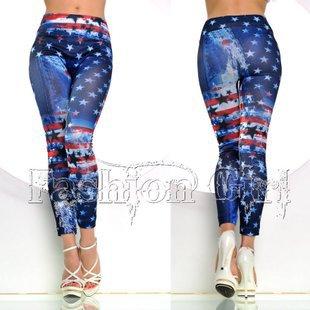 Seamless Denim Graffiti Star American Flag nine Leggings print leggings - Happy woman flagship store