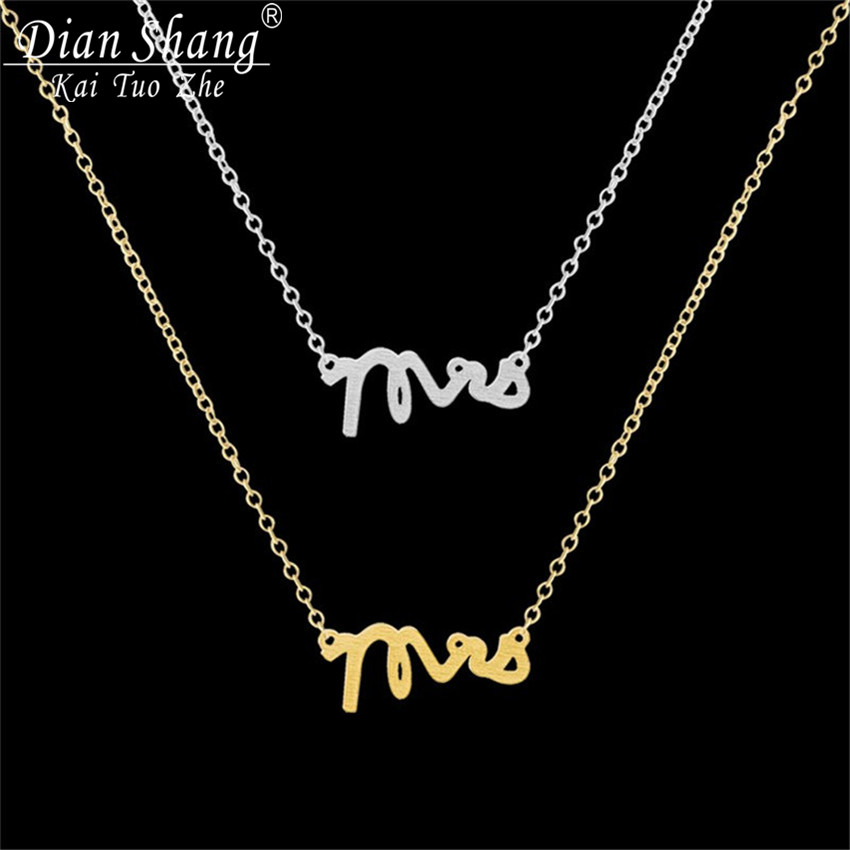 DIANSHANGKAITUOZHE 12016 Stainless Steel Boho Jewelry Gold Silver Collier Mrs Letter Charm Necklace Women Maxi Choker - CC Helen store