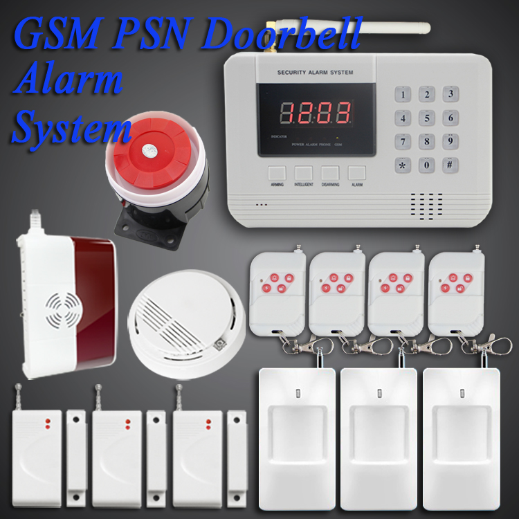 free shipping wireless dual network pstn gsm intercom fire smoke detector alarm system gas. Black Bedroom Furniture Sets. Home Design Ideas