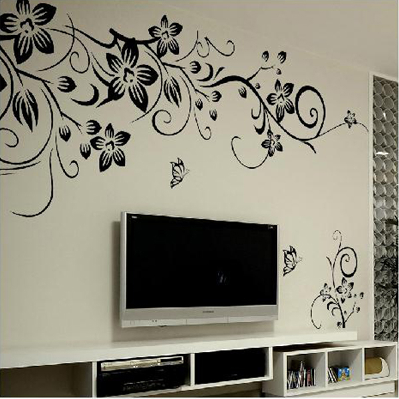Removable Vinyl Wall Decor : Classical black vines butterfly removable decal vinyl
