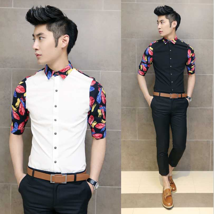 New fashion wholesale 2014 summer men 39 s casual high for Cool mens casual shirts