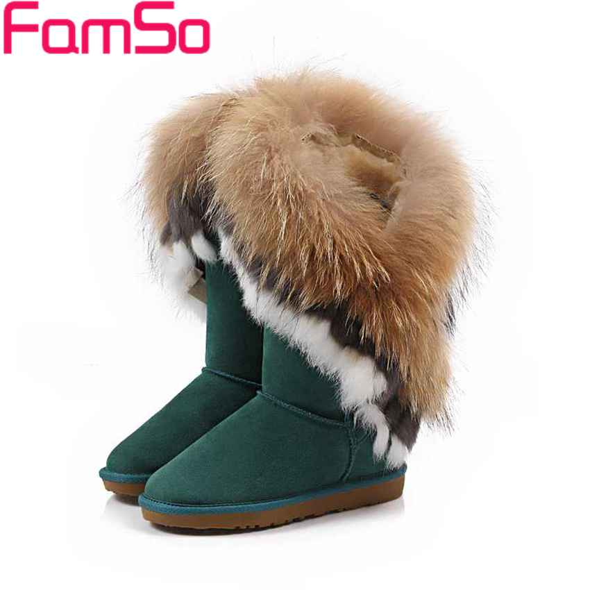 Plus Size34-43 2016 New Sexy Women Real Fur boots Designer Autumn Half Genuine Leather Boots Winter Warm Snow Boots SBT3054(China (Mainland))