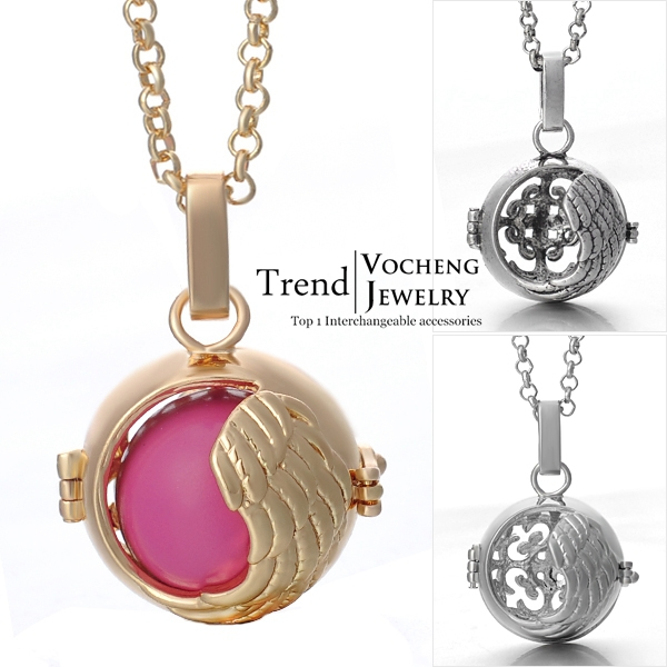 Cage Prayer Box Necklace 3 Colors Brass Metal Chiming Balls in Chain Necklaces (VA-047) Free Shipping(China (Mainland))