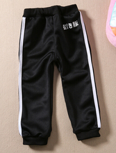 Black boys Sport pants free style letter print Casual Cotton Pants 2015 Spring & Autumn fashion Child school trousers 2-6 years(China (Mainland))