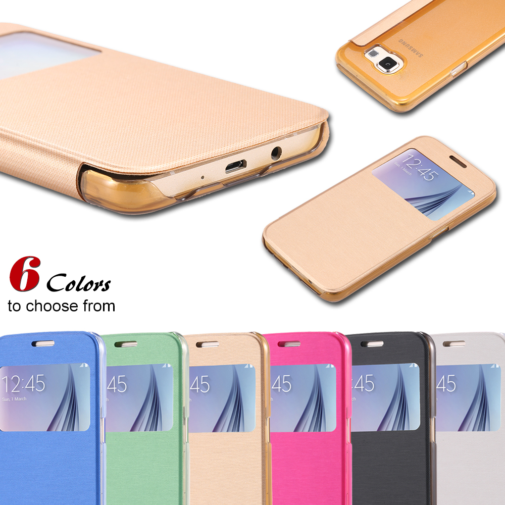 For Galaxy S6 Cases Luxury PU Leather Flip Case For Samsung Galaxy S6 G9200 View Window Full Protective Back Cover S6 1pcs/lot(China (Mainland))