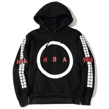 2016 fall winter US hip hop skate kanye west hood by air hba circle white square men cotton pullover hoodie in black(China (Mainland))