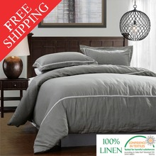 FreeShipping 100% Pure Linen Duvet Cover Set Soft Quilt Cover Gray 3pcs Include Quilt Cover Pillowcase Twin Queen Full King(China (Mainland))