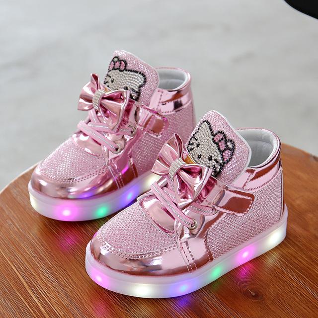 Девушки Обувь Детская Мода Крюк Петля СВЕТОДИОДНЫЕ Обувь Дети Свет Светящиеся Кроссовки Маленькие Девочки Принцесса Детская Обувь Со Светом светящиеся кроссовки кроссовки светящиеся кроссовки детские