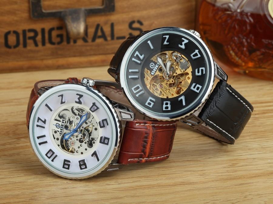 GOER марка Мода часы мужская Кожаная водонепроницаемый Световой Скелет Автоматические механические мужские наручные часы