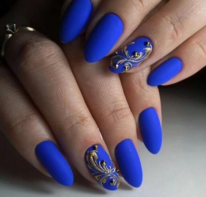 Синий и белый дизайн ногтей 2017-2018