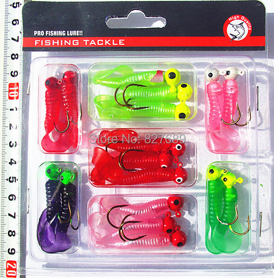 Rubber Jig soft bait lure set (17 pieces jig heads and jig hooks)(China (Mainland))