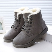 LAKESHI 핫 Women Boots Winter Warm 눈 Boots Women Botas 보낸 Mujer Lace Up 퍼 Ankle Boots 숙 녀 Winter Women Shoes black NM01(China)