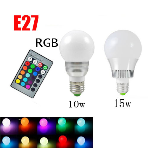 RGB E27 10W/15W AC 220V LED Bulb Lamp with Remote Control Multiple Colour LED Lighting Free Shipping ZM00360/ZM00361(China (Mainland))