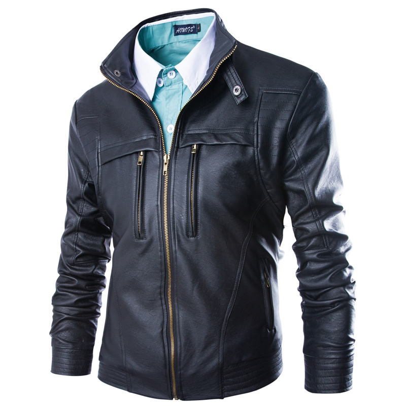 Leather Jacket Men 2015 High Quality Mens Leather Jackets and Coats Man Vintage Leather Jacket Black