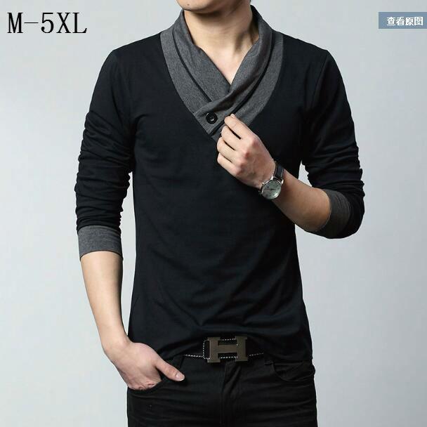 plus size m xxxxl 5xl t shirt 2016 autumn mens v