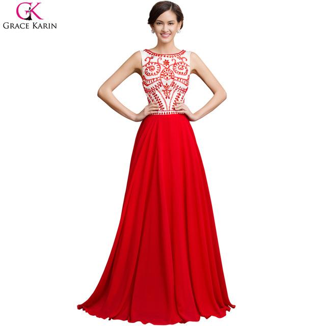 Халат де вечер длинный красный вечернее платье грейс карин бусины рукавов шифон элегантные ...