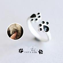 Hot Животных следы 925 щепка кольца ювелирные изделия стерлингового серебра Симпатичные собака Кошка когти кольца для женщин стерлингового серебра--подарок ювелирных изделий(China (Mainland))