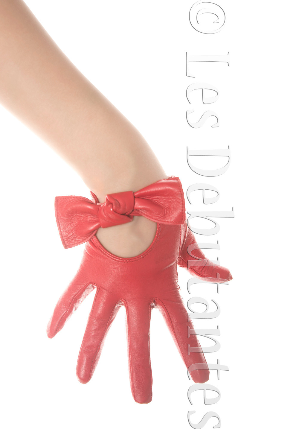 RED BOW LEATHER GLOVES(China (Mainland))