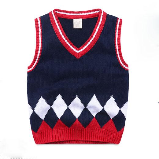 Boys Sweater Vest Kids 2015 Autumn Knitted Boys Sweater Waistcoats Sleeveless V Collar Children's Latticed Clothing Tops(China (Mainland))