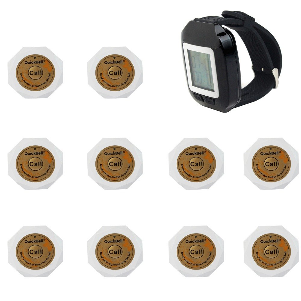 Wireless Pager Calling System For Club with 10 White Call Button and 1 Black Watch Receiver 1500M 433.92MHz Pager F3131A(China (Mainland))
